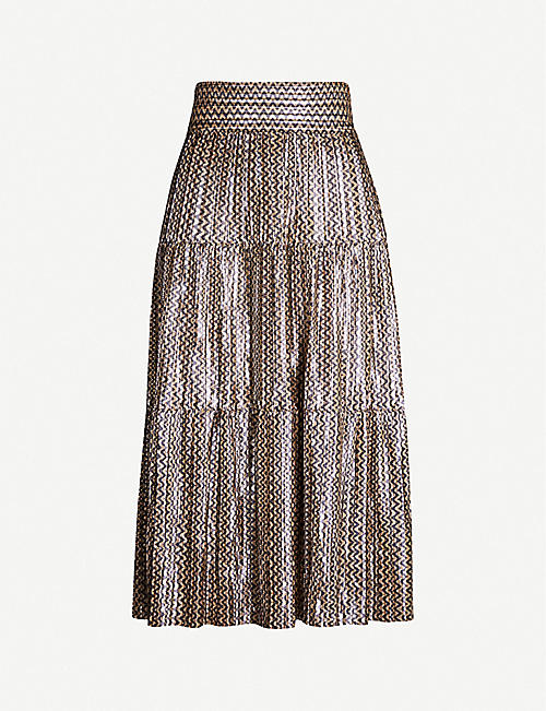 BA&SH Chevron-patterned metallic woven midi skirt