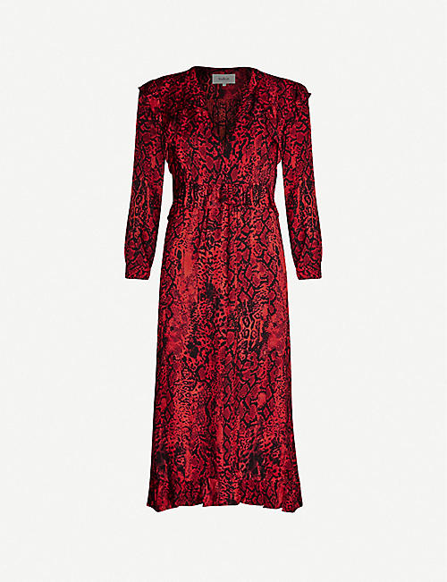 BA&SH Sahara snakeskin-print ruffled crepe midi dress