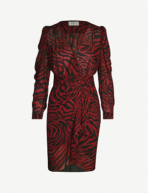 BA&SH Saphir animal-print chiffon midi dress
