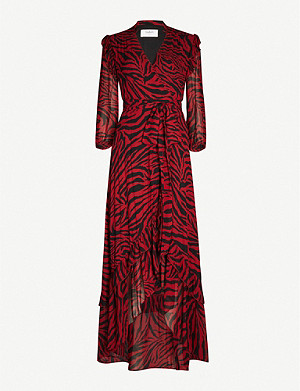 BA&SH Selina tiger-print crepe midi dress