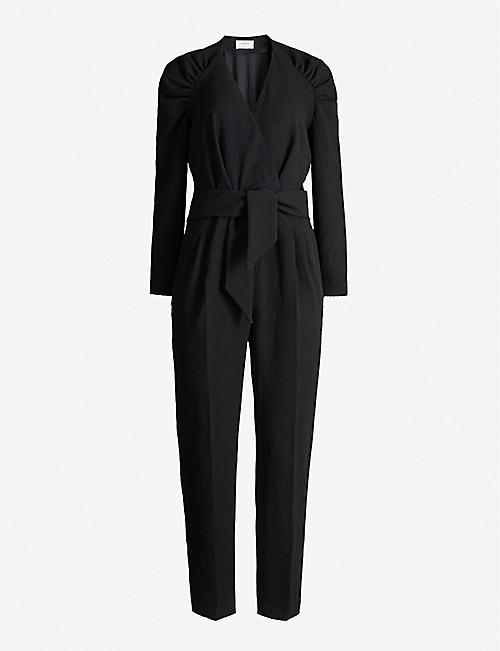 BA&SH Sherazad ruched-shoulder crepe jumpsuit