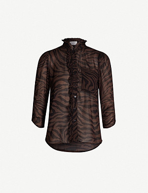 BA&SH Siscou ruffled tiger-print chiffon blouse
