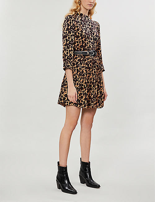 BA&SH Tiana leopard-print crepe mini dress