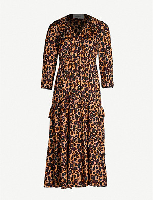 BA&SH Tracy leopard-print crepe midi dress