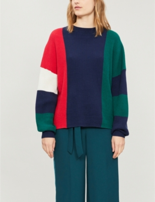 Kitri HETTIE PANELLED RIBBED COTTON AND CASHMERE-BLEND JUMPER