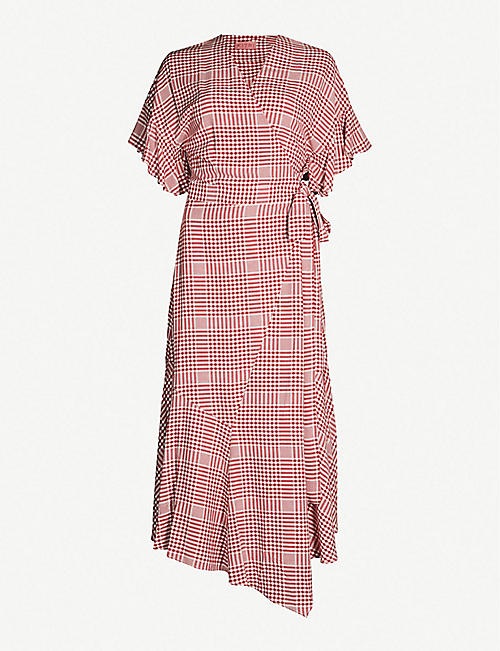 b3a2f07aec0 KITRI Eliana asymmetric checked woven dress