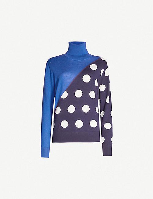 15351465d6fe2 KITRI Phoebe polka dot-panel turtleneck wool jumper