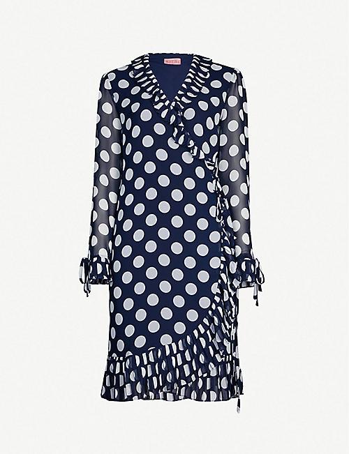 deae81796253c KITRI Anastasia ruffled polka dot crepe wrap dress