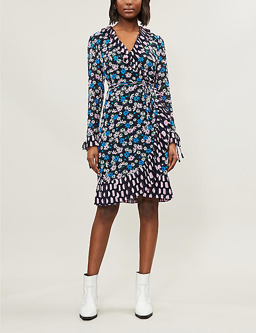 a2136d9f59 KITRI Anastasia ruffled floral-print crepe wrap dress