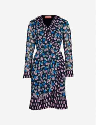 KITRI Anastasia ruffled floral-print crepe wrap dress