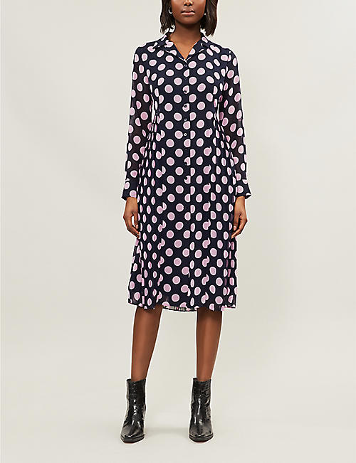 2bd6a4e648a KITRI Lotta polka dot crepe shirt dress
