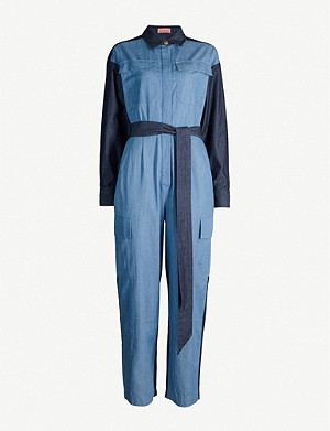 KITRI Jule panelled chambray straight-leg jumpsuit