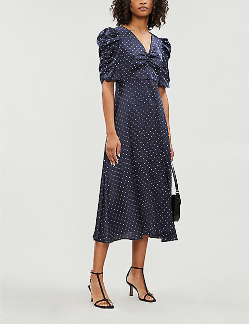 KITRI Serafina polka-dot ruched satin midi dress