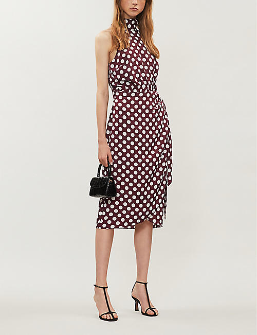 KITRI Constance high-neck polka dot crepe wrap dress