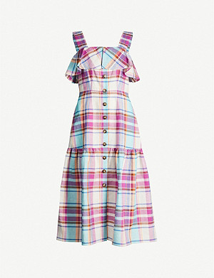 KITRI Blakeley checked linen and cotton-blend midi dress