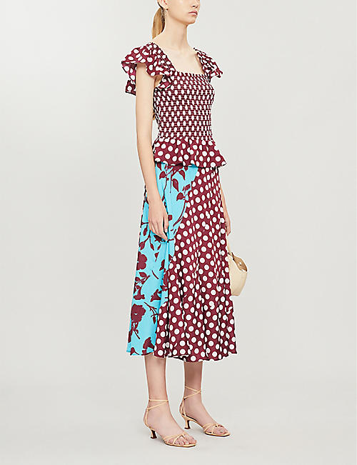 KITRI Winslow smocked polka-dot woven top