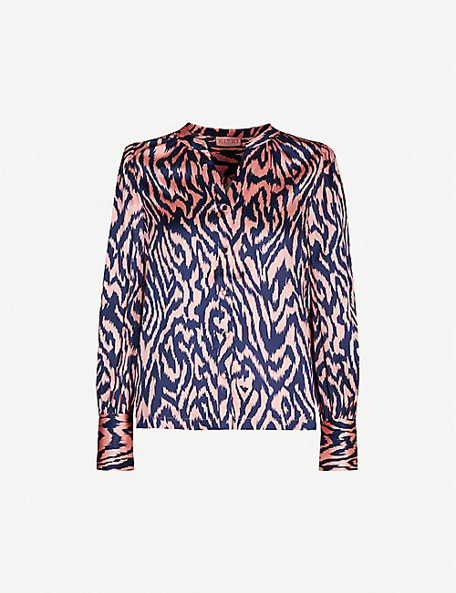 KITRI: Penny animal-print relaxed-fit silk-blend satin shirt