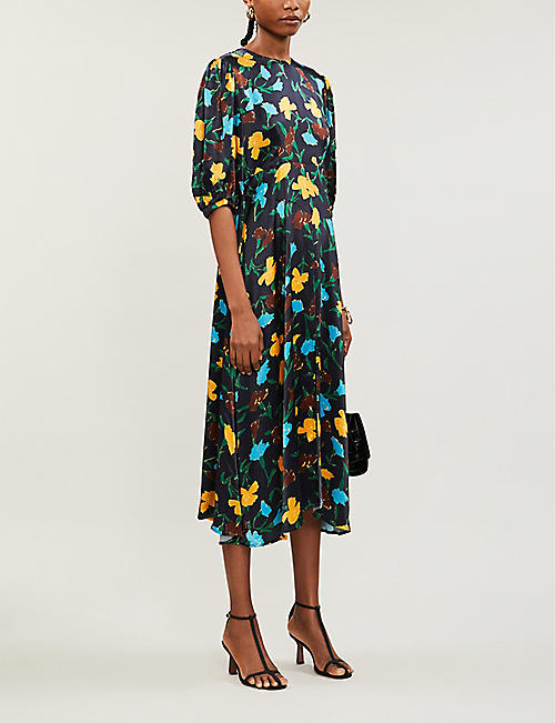 KITRI Floral-print satin midi dress
