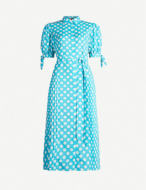 KITRI Luciana polka-dot-print crepe shirt dress