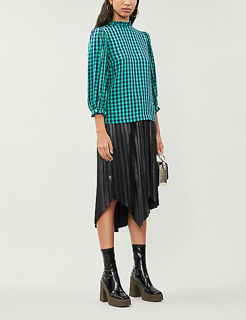 KITRI Ruffled-trim puff-sleeve checked woven blouse