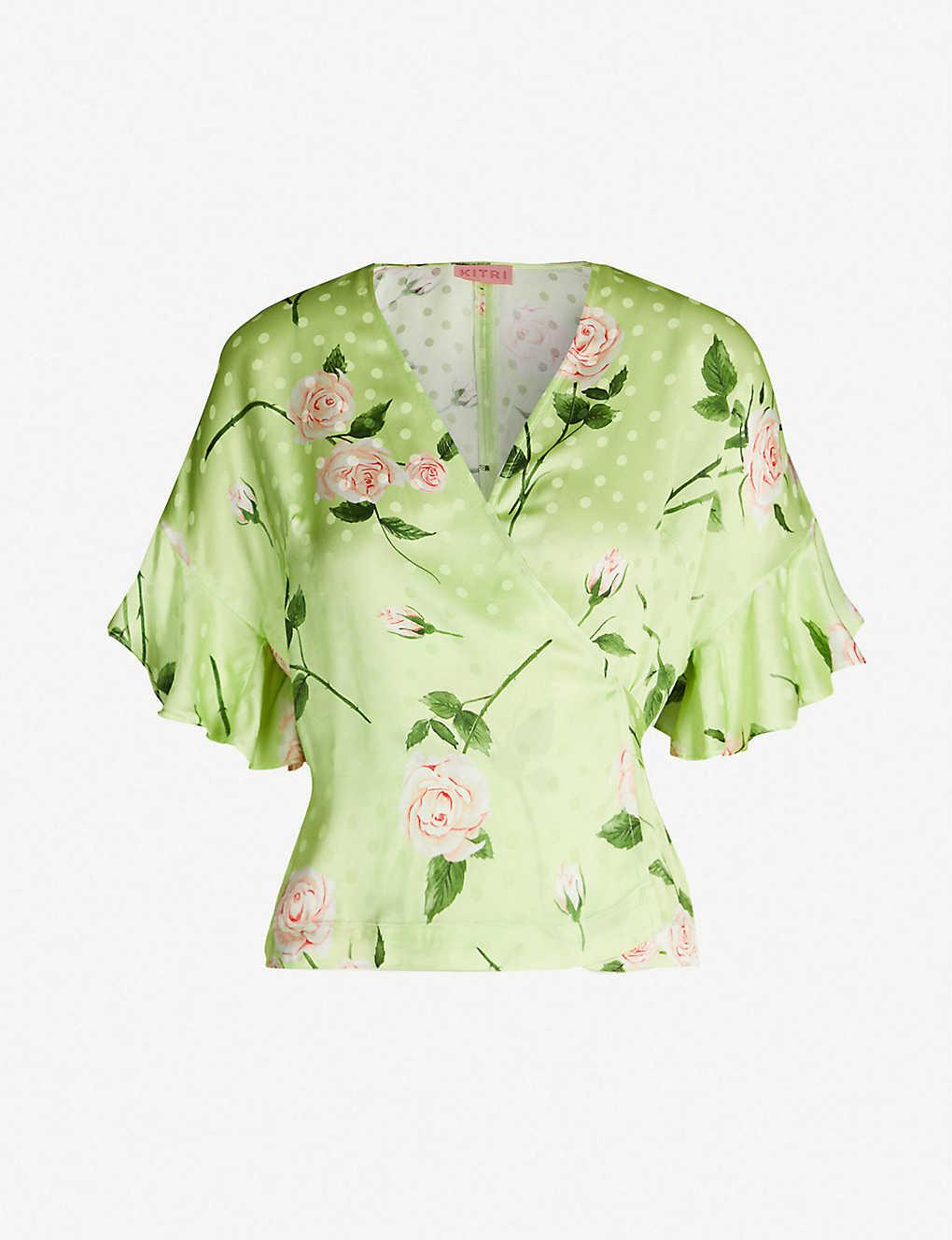 75ebf8cf608723 Alexis flared-cuff floral-print satin wrap top - Rose print ...