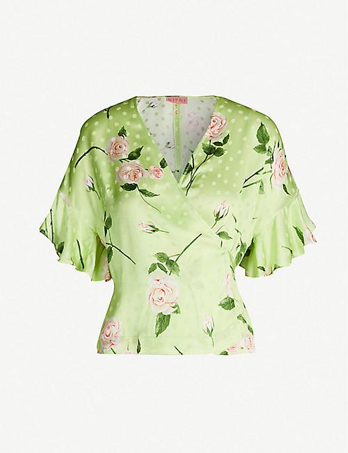 1ed3c90cc7cbf KITRI Alexis flared-cuff floral-print satin wrap top