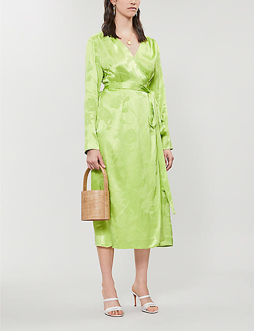 KITRI Effie satin wrap dress