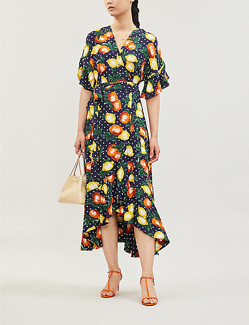 KITRI Freya fruit-print V-neck crepe midi dress
