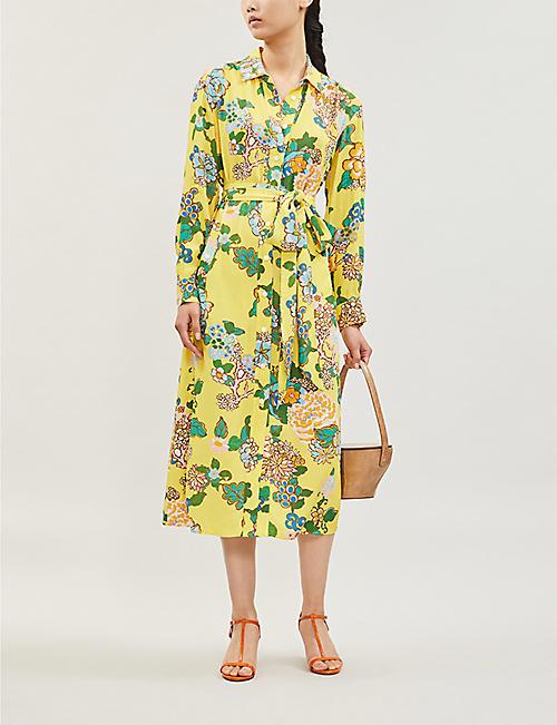 f45fbb4233 KITRI Henley floral-print crepe midi shirt dress