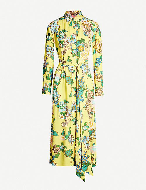 bf4e4c61b27 KITRI Henley floral-print crepe midi shirt dress
