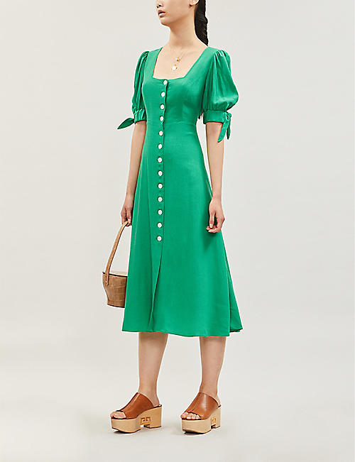 KITRI Lenora gingham cotton-poplin midi dress