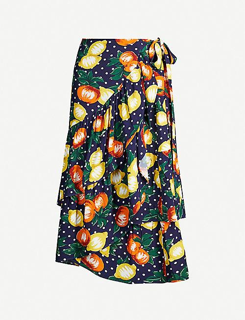 1c85953c30d KITRI Petulia fruit-print crepe wrap skirt