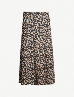 RIKA BY ULRIKA LUNDGREN Rick floral-print stretch-crepe midi skirt