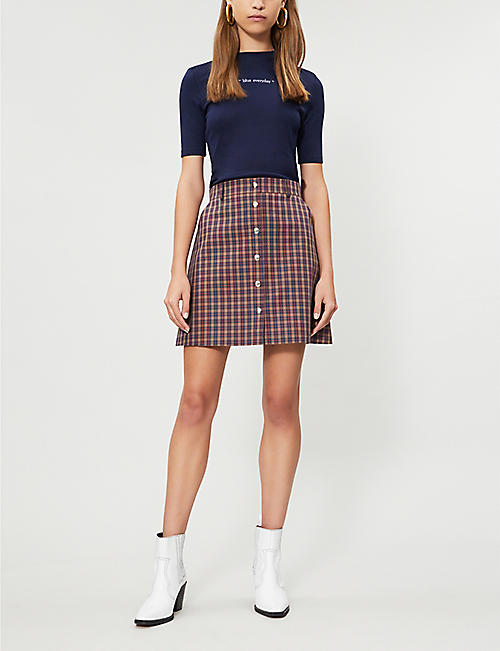 RIKA BY ULRIKA LUNDGREN Troy checked cotton midi skirt