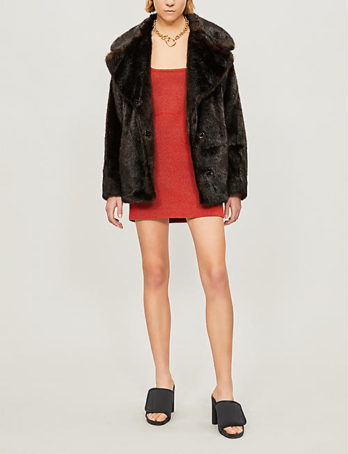 KENDALL & KYLIE Notch-lapel faux-fur coat