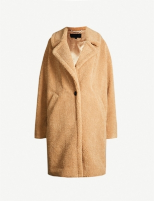 KENDALL & KYLIE Notch-lapel faux-fur teddy coat