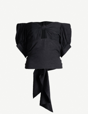 KITX Unearthed off-the-shoulder knotted silk-crepe top