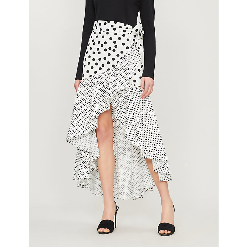 De La Vali Skirts CASTANA CONTRAST POLKA-DOT WRAP-OVER COTTON SKIRT