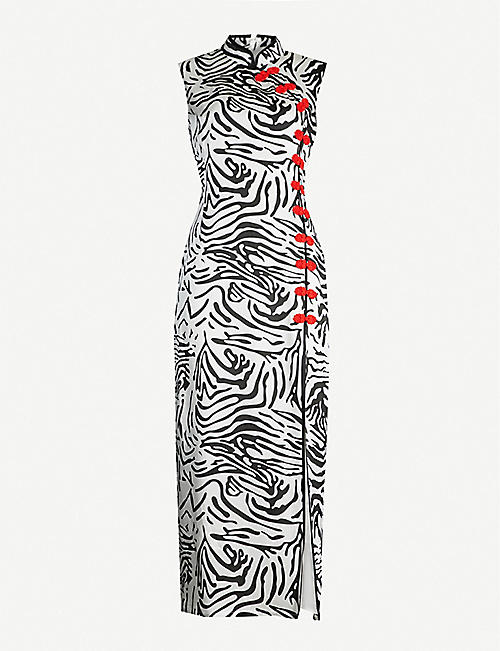 DE LA VALI Jean tiger-patterned silk-satin dress