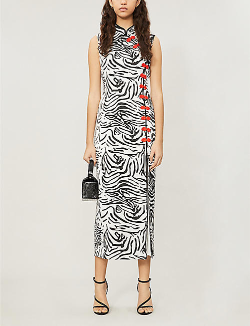 2eac42632 DE LA VALI Jean tiger-patterned silk-satin dress. NEW SEASON