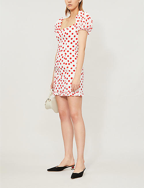 DE LA VALI Koko polka-dot cotton mini dress