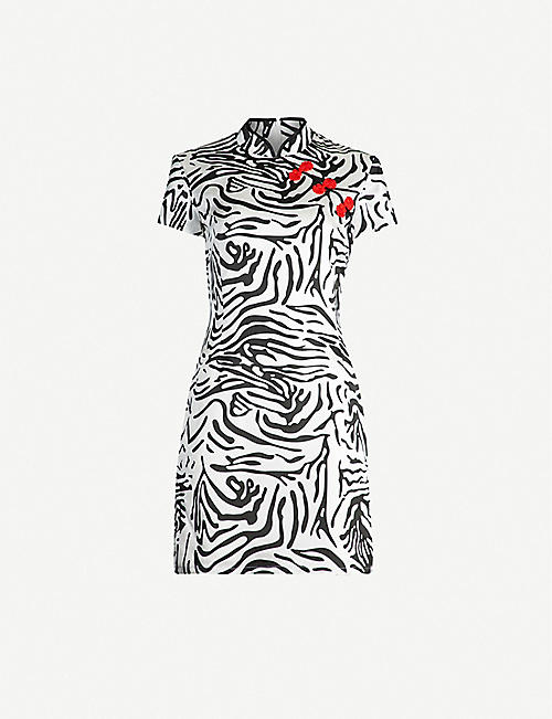 DE LA VALI Suki tiger-patterned silk-satin dress