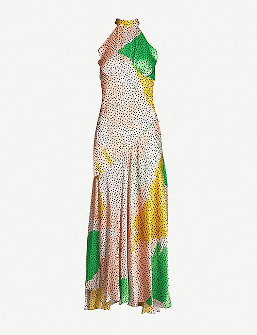 84d1ac58d98f7 DE LA VALI Vivienne halterneck asymmetric printed silk-satin midi dress