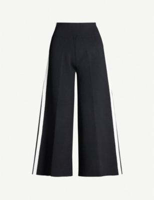 VERONICA BEARD Roland cropped high-rise stretch-knit wide-leg trousers