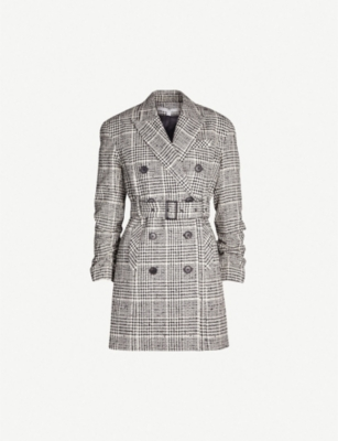 VERONICA BEARD Augusta checked belted cotton-blend jacket