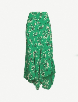 VERONICA BEARD Mac floral-print stretch-silk skirt