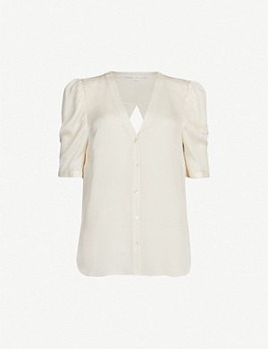 VERONICA BEARD Garland short-sleeved silk-crepe top
