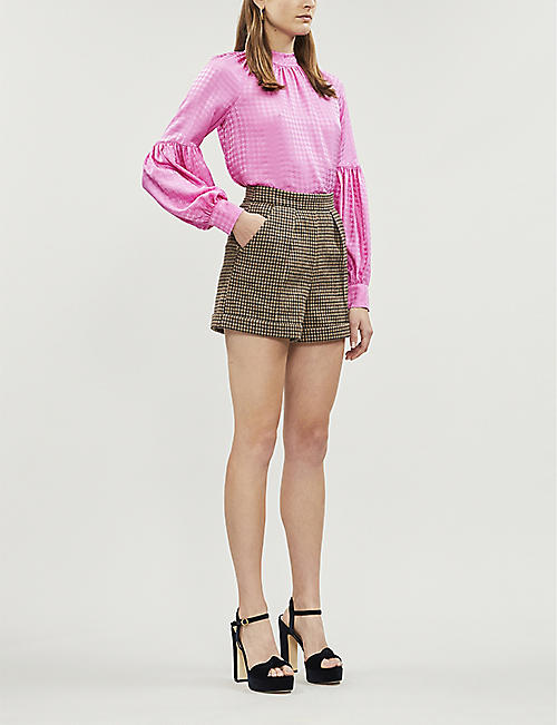 VERONICA BEARD Cicely houndstooth-jacquard silk-satin blouse