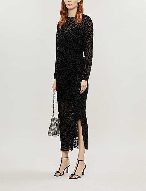VERONICA BEARD Lala ruched velvet midi dress