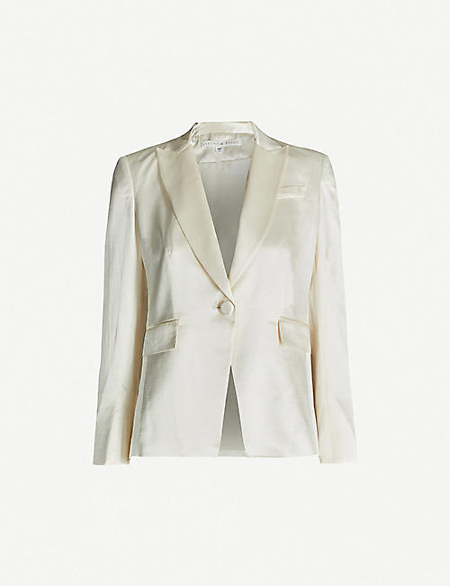 VERONICA BEARD Athens silk-crepe single-breasted jacket